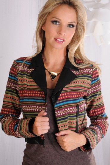 Multi color print crop zip up jacket with faux leather collar