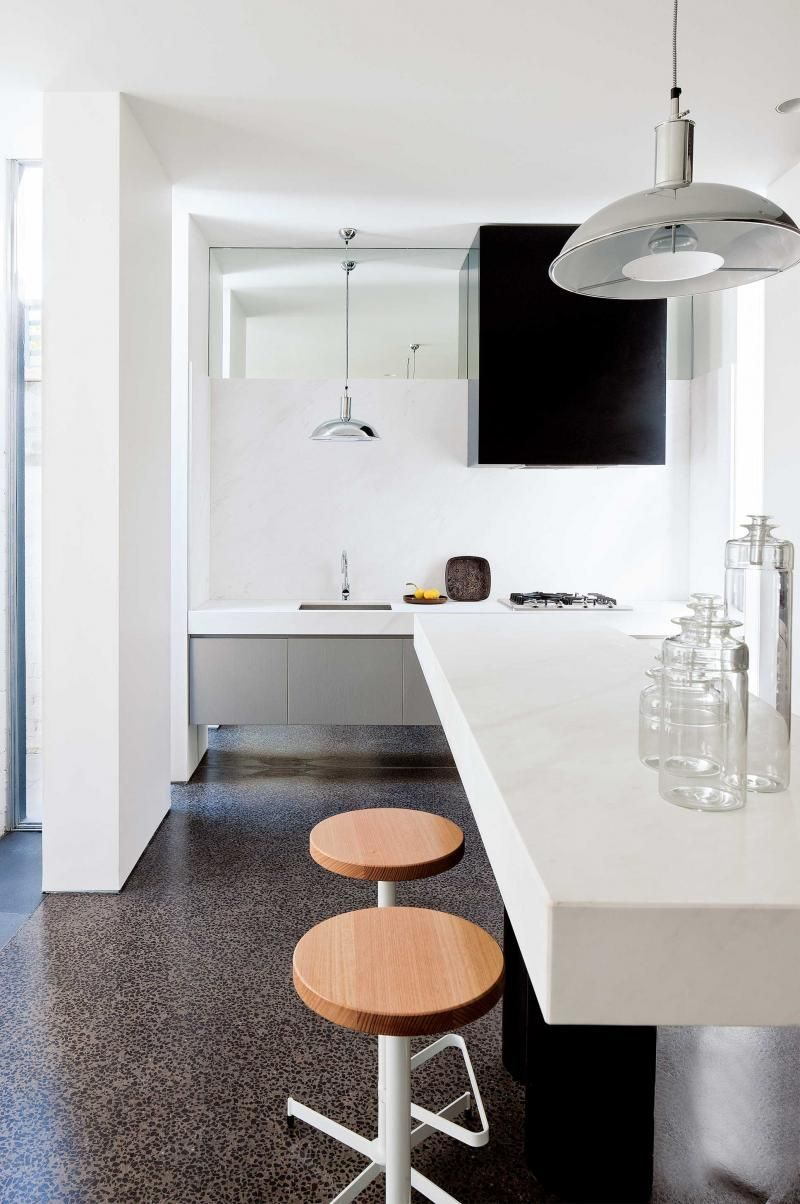 Whitekitchenpendantlightsislandbenchaug interiors dining