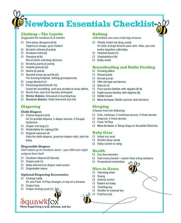 Free Download Newborn Essentials Checklist Template  Checklist