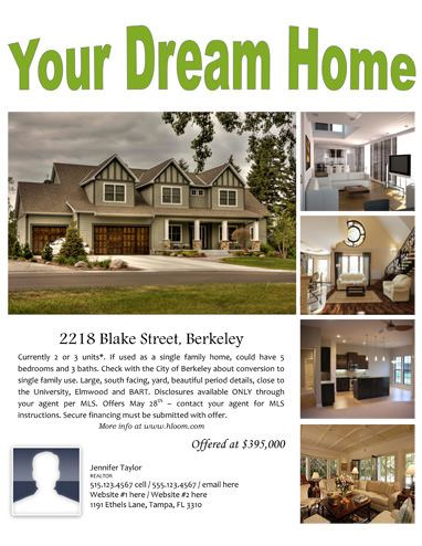 Your Dream Home - Free Flyer Template by Hloom Real Estates - home sale flyer template