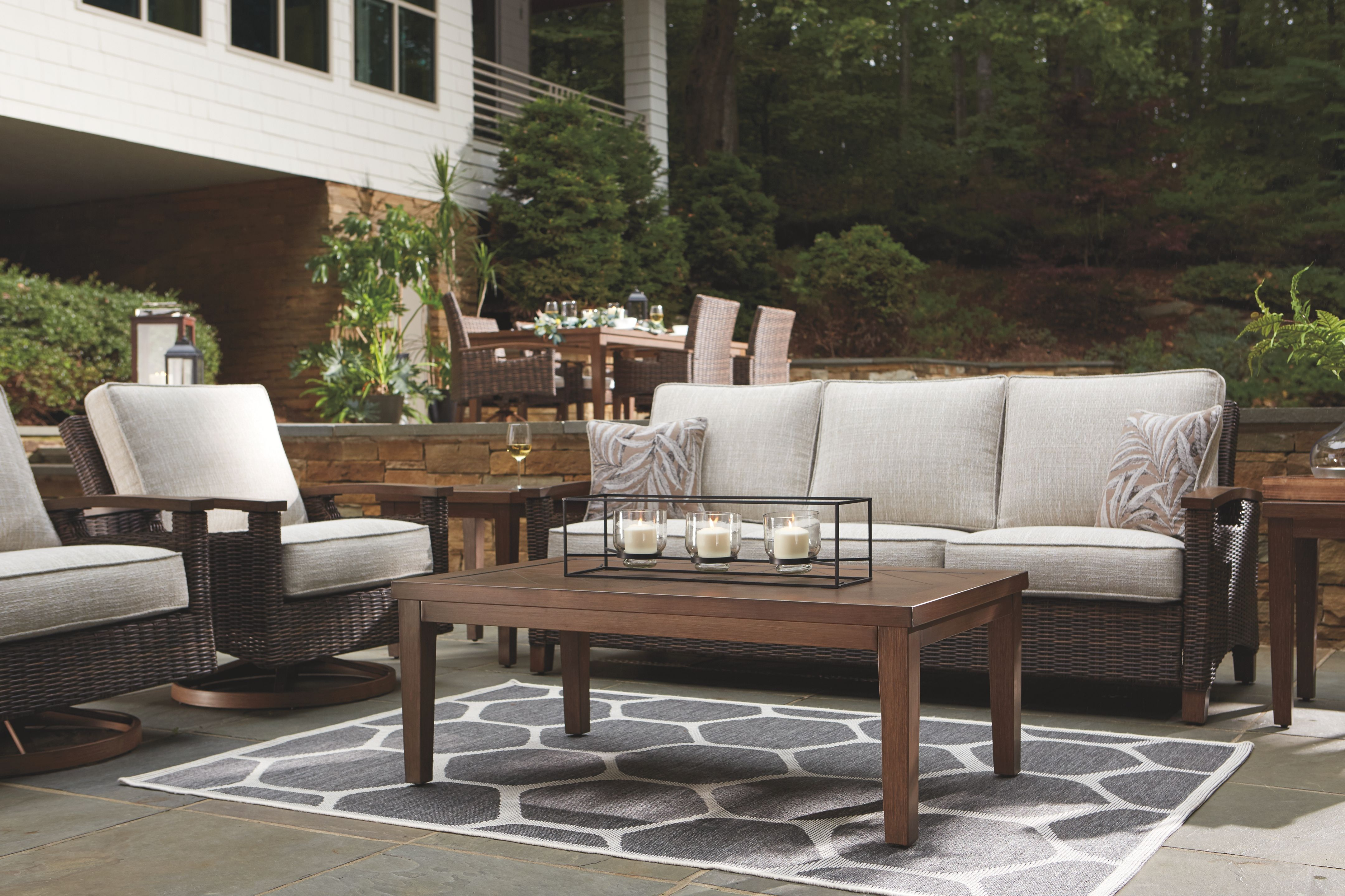Paradise Trail Sofa With Cushion Ashley Furniture Homestore Outdoor Sofa Sets Outdoor Sofa Patio Furniture Conversation Sets