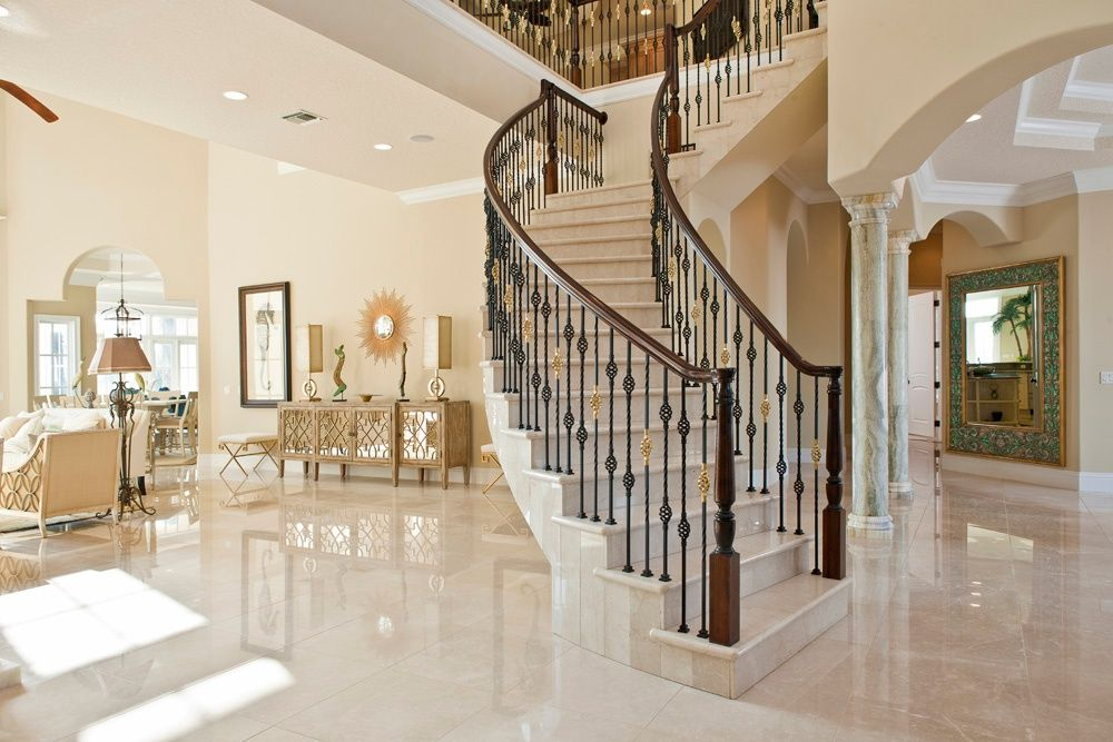 Mediterranean Staircase with Balcony High ceiling Hooker