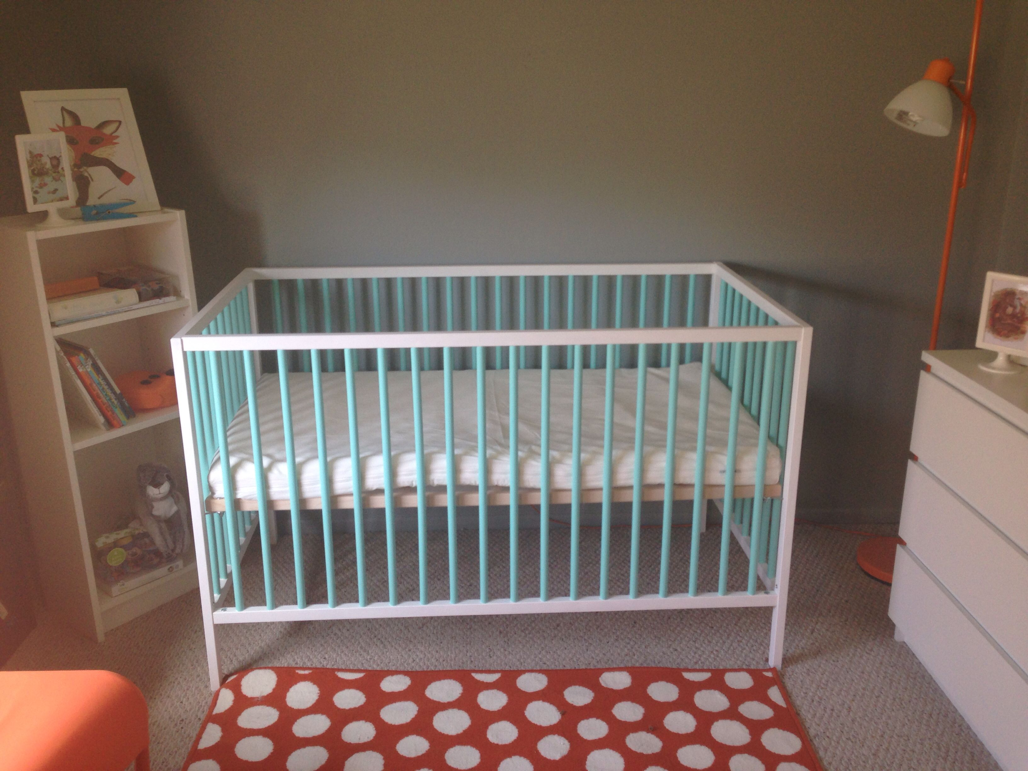 Aqua Painted Sniglar Crib From Ikea