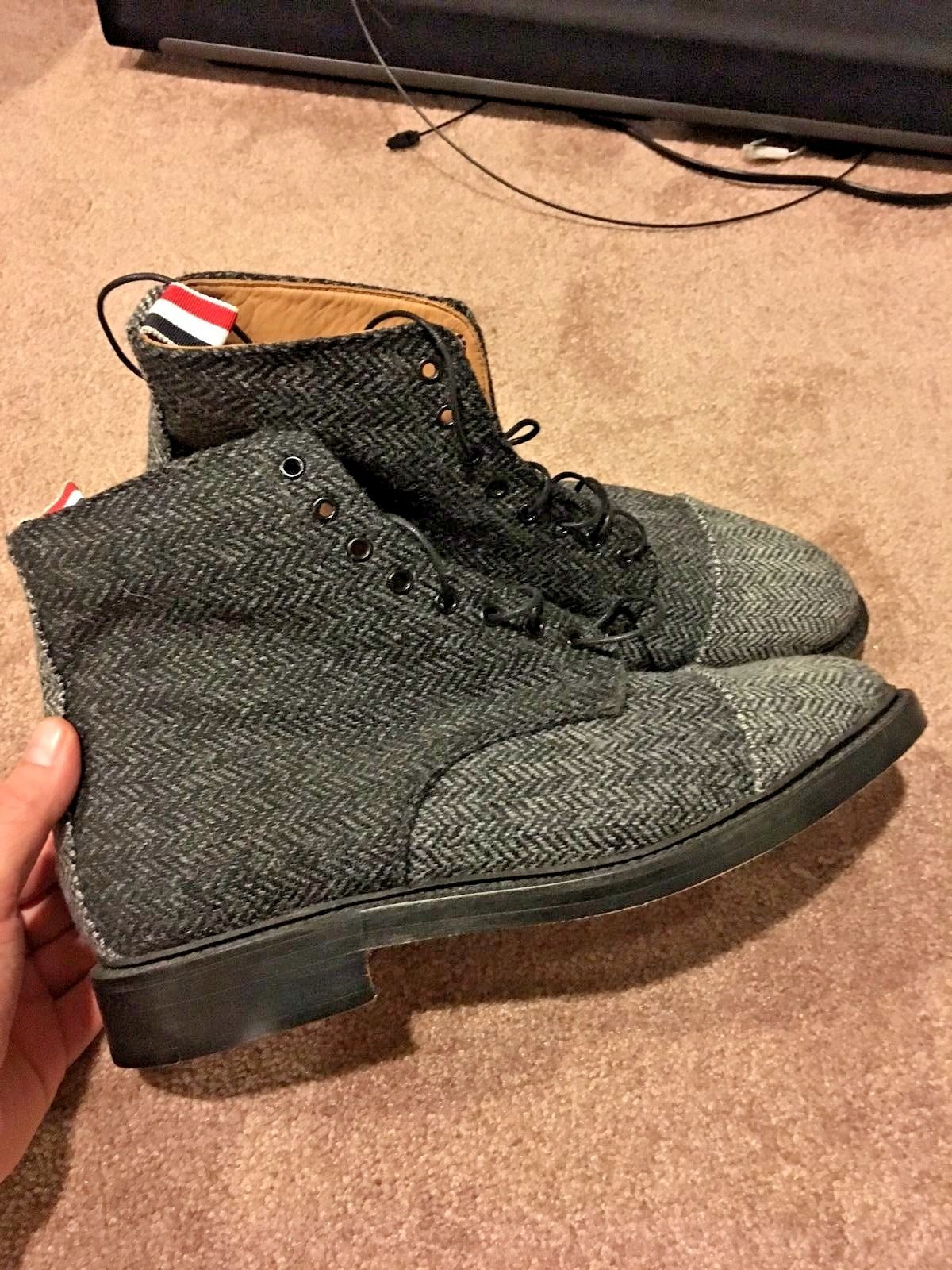 6d3d3217dbb Thom Browne Men's Gray Tweed Lace-Up Ankle Boot *new! in ...