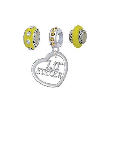 3/4'' Lil Sister Cutout Open Heart - Yellow Charm Beads (Set of 3) ** Continue to the product at the image link.