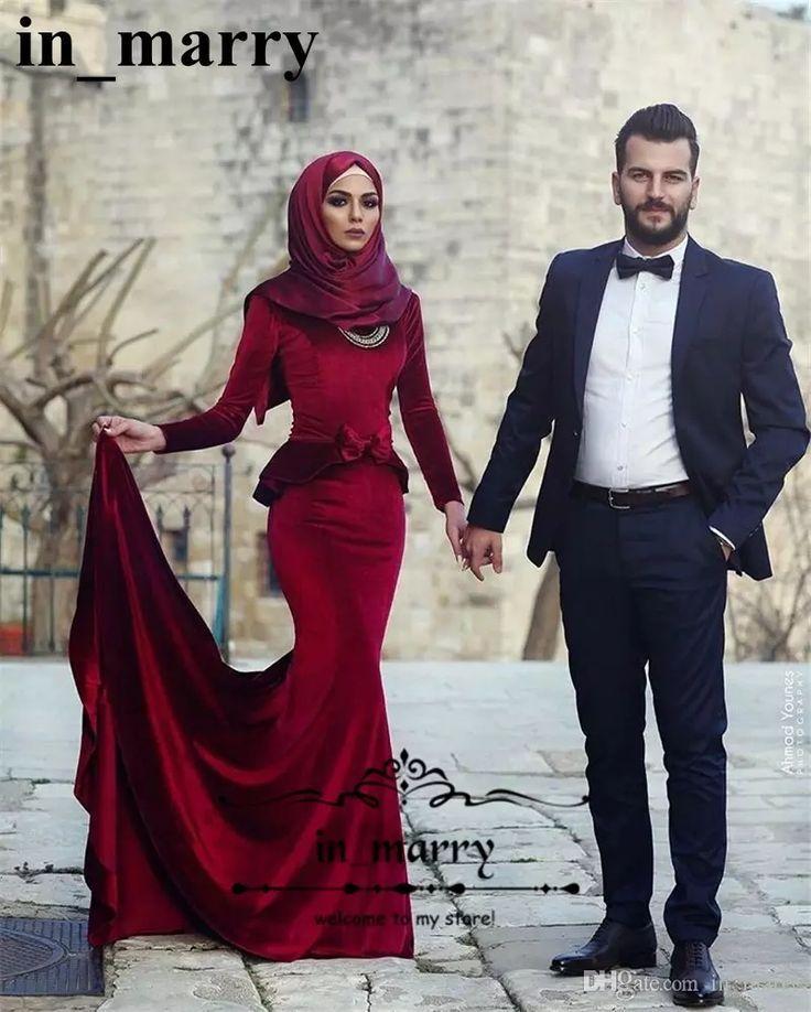 8b8eda6428c Nice Evening Dresses plus size Red Velvet Mermaid Muslim Islamic Evening  Dresses 2017 High Neck Long