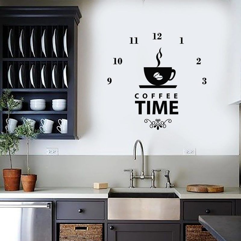 Relax Time Wall Decal Clock Coffee Shop Cafe Lover Interior