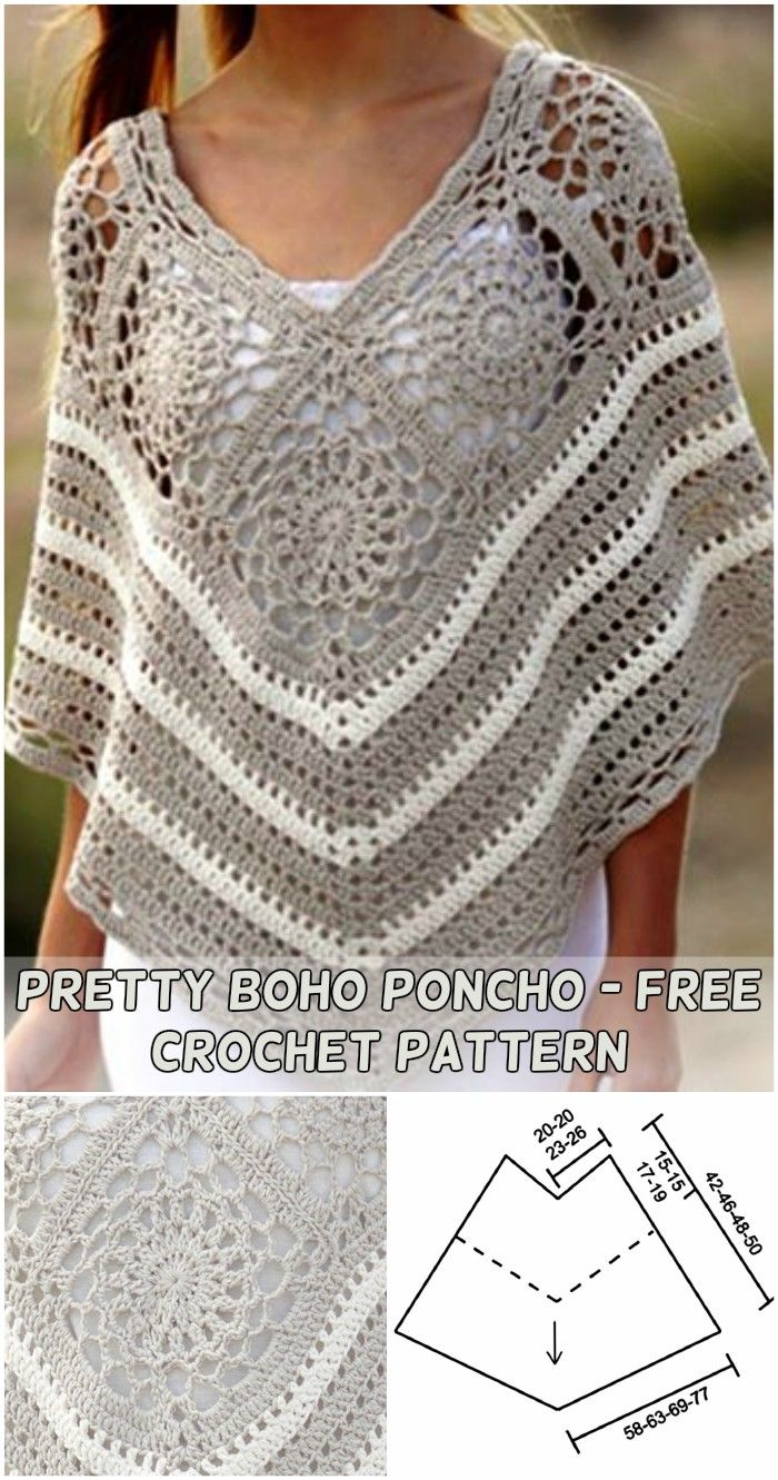 Beautiful Crochet & Knit Poncho Ideas – Free Patterns en 2018 ...