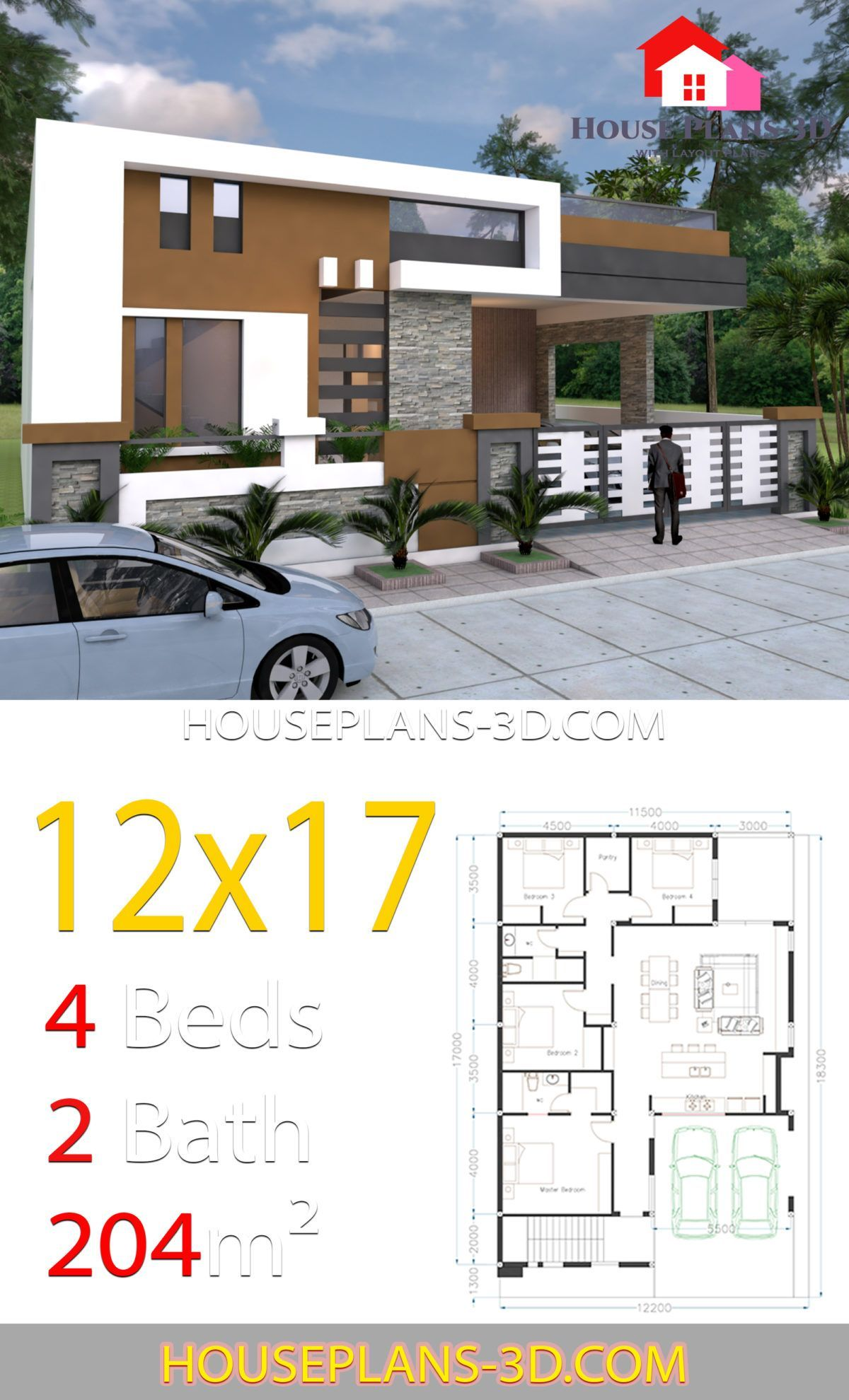 House Design 12x17 With 4 Bedroom Terrace Roof House Plans 3d 12x17 Bedroom Bedroomter In 2020 House Construction Plan House Plans Model House Plan