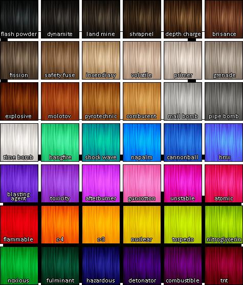 Unnatural Hair Dye Color Chart Google Search Hair Dye