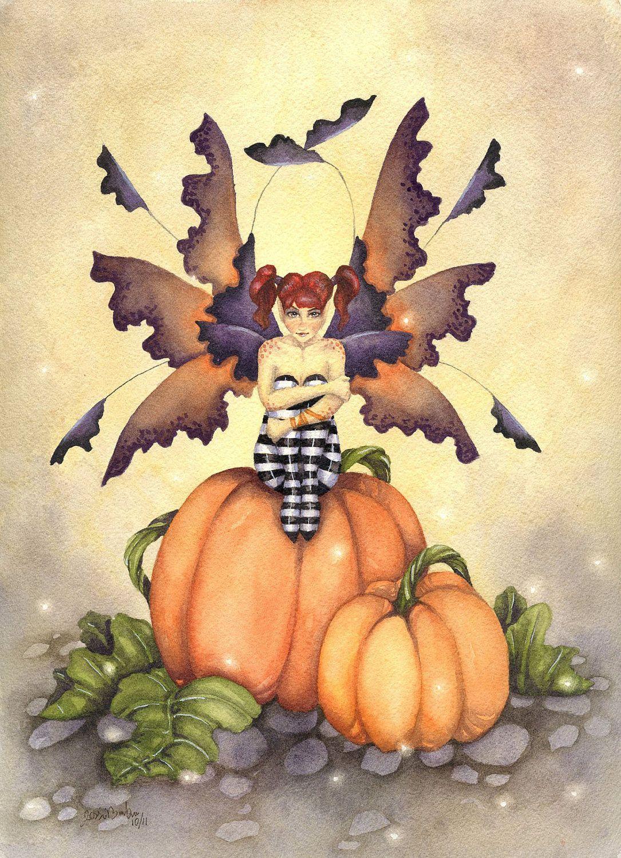 Fantasy Art Original Watercolor Painting - The Pumpkin Pixie - 9x12 - Halloween, whimsical, fairy tale, october, orange, children, girl