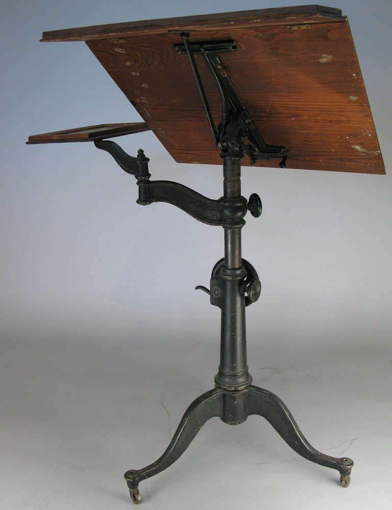 Antique Cast Iron Industrial Drafting Table From A Unique
