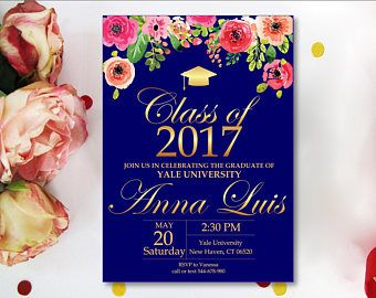 image result for graduation invites with blue background and flowers