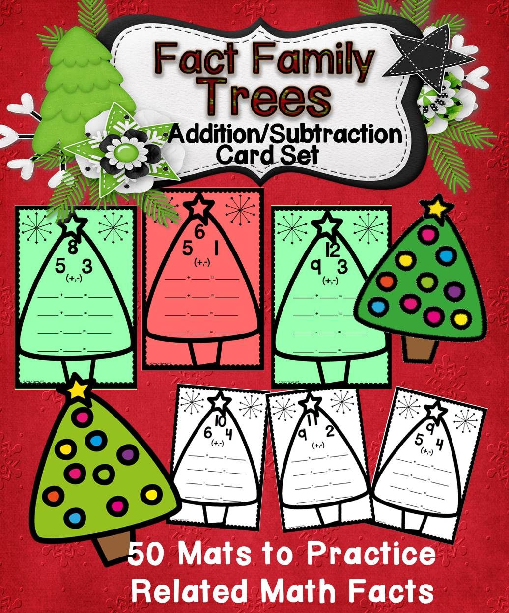 Addition Subtraction Fact Families Trees Cards Wipe Off
