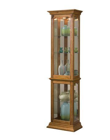 Ski Narrow Curio Cabinet In Estate Oak 21214