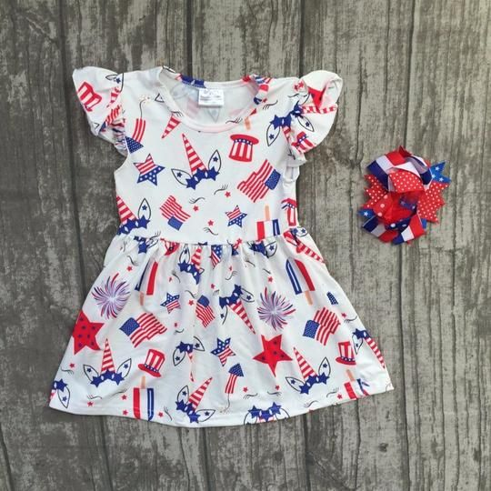 7b7264fe9d76e Unicorns and Fireworks! July 4th Dress with matching Bow – Twin Lakes  Boutique