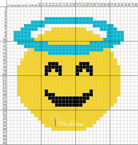 dbbe0bc9f43 emoticons angel - emoticons faccia d angelo - schema punto croce - cross  Stitch - Kreuzstich - Punto de Cruz