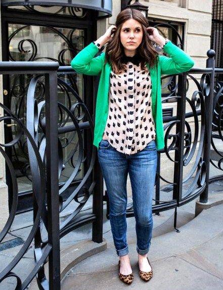 3.14 the cat's pajamas (J Crew kelly green cardigan + Milly bowtie cat-print blouse + leopard flats)