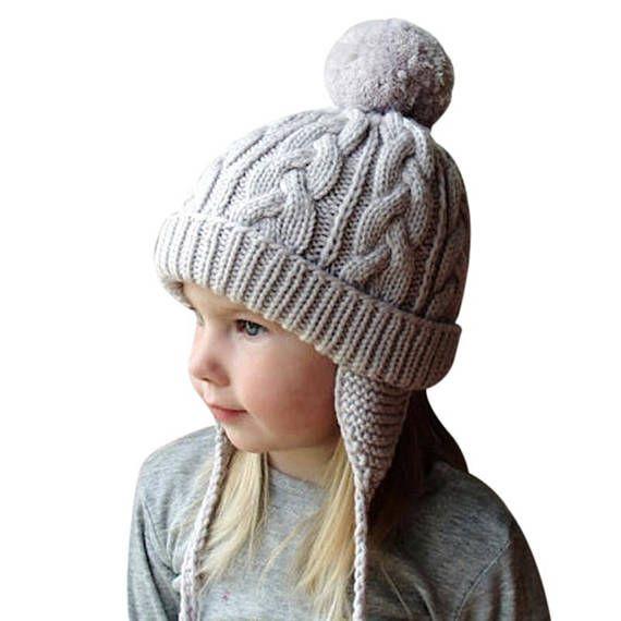 74ad87e9d40 Wool Knitted Kids Pom Pom Hat Baby Boys Girls Winter Cap baby baby winter  hat