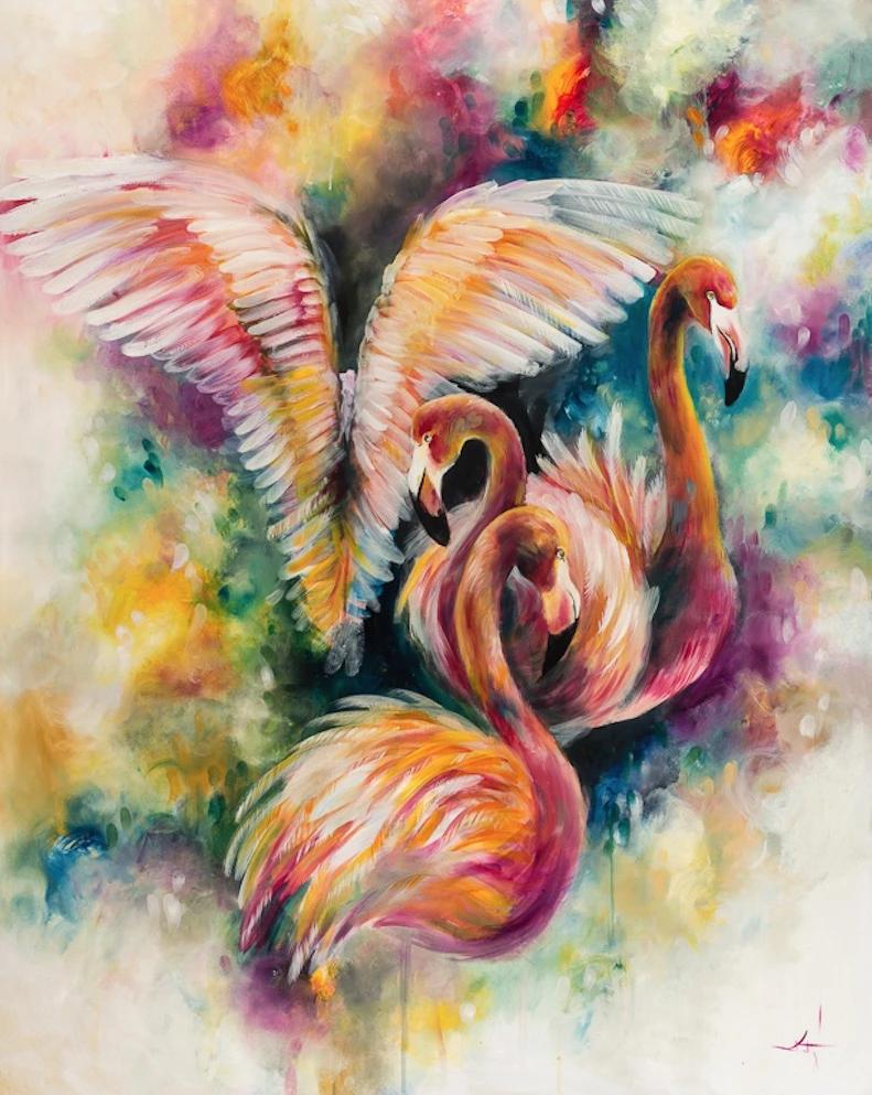 Flamboyant Original Flamingo art, Pastel art, Original