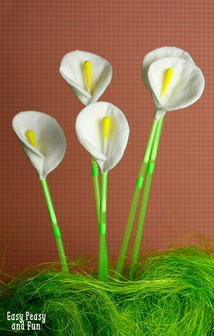 Craft Flowers For Kids Part - 15: Cotton Round And Q-Tip Calla Lily Flowers
