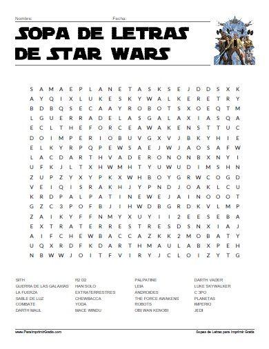 Sopa de Letras de Star Wars | Sopa de letras, Letras y Sopas