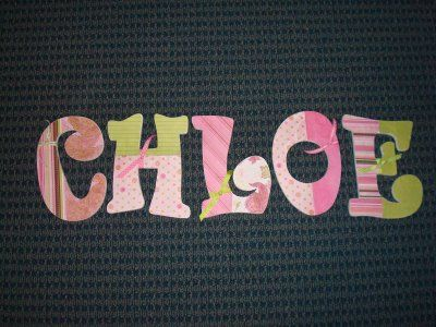 Wooden letters, scrapbooking paper and a little bit of ribbon