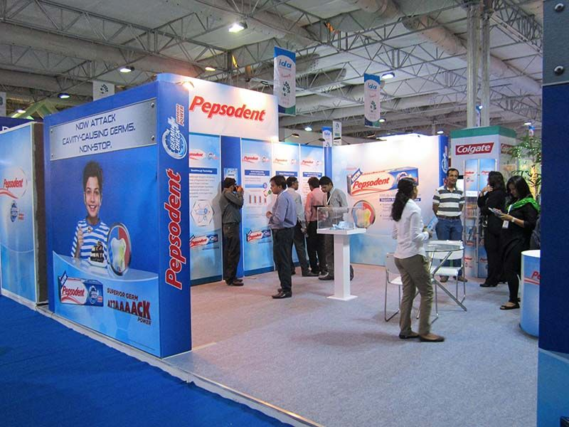 Trade Stands Olympia : Exhibition booth for pepsodent in dental expo eds duabi