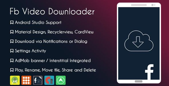 Cool Facebook Video Downloader Pro Android ThemeForest - Facebook video template