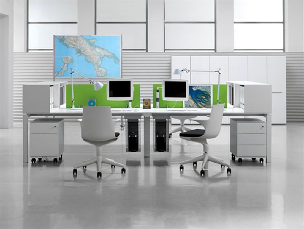 Comfortable Computer Room Ideas At Home: Modern Office Room With Computers  And Map Picture Frame ~ General Ideas Inspiration Pictures Gallery