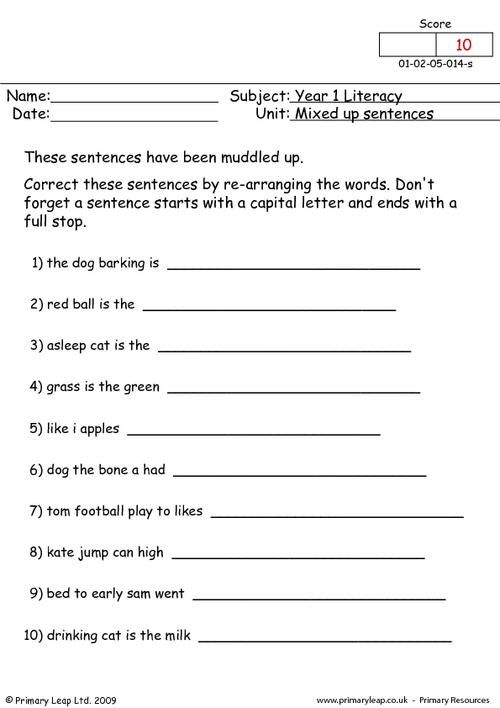 PrimaryLeap.co.uk - Mixed Up Sentences 1 Worksheet | for my son ...