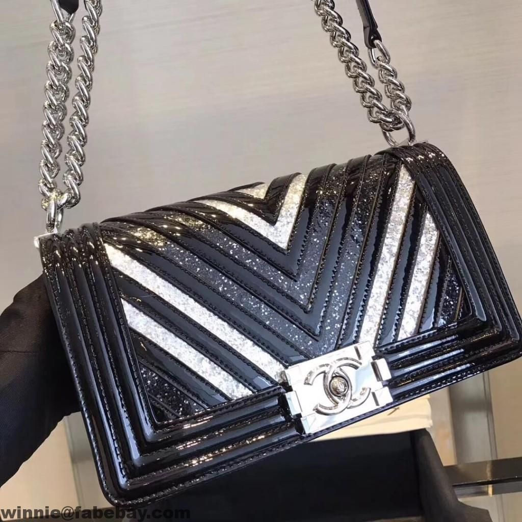 72c3d088c698 Chanel Chevron Glittered PVC & Patent Leather Medium Boy Flap Bag A67086  2017