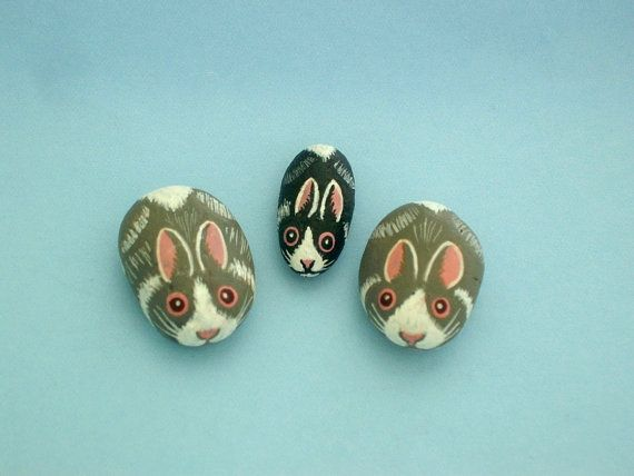 Miniature Easter bunny for fairy gardens, painted rocks by RockArtiste