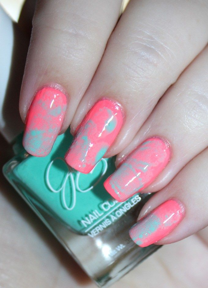 Sponge nail art using neon & brights! Jesse\'s Girl polishes in ...