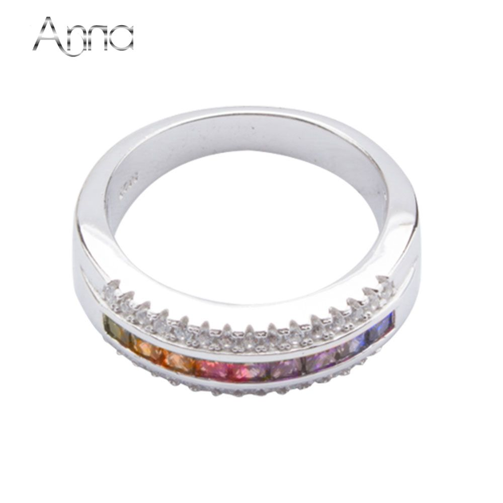 A&N 925-Sterling-Silver Rings For Women Party Jewelry Blue Pink Rainbow Ring American Standard Size 6 7 8 9 Korean Fashion Rings