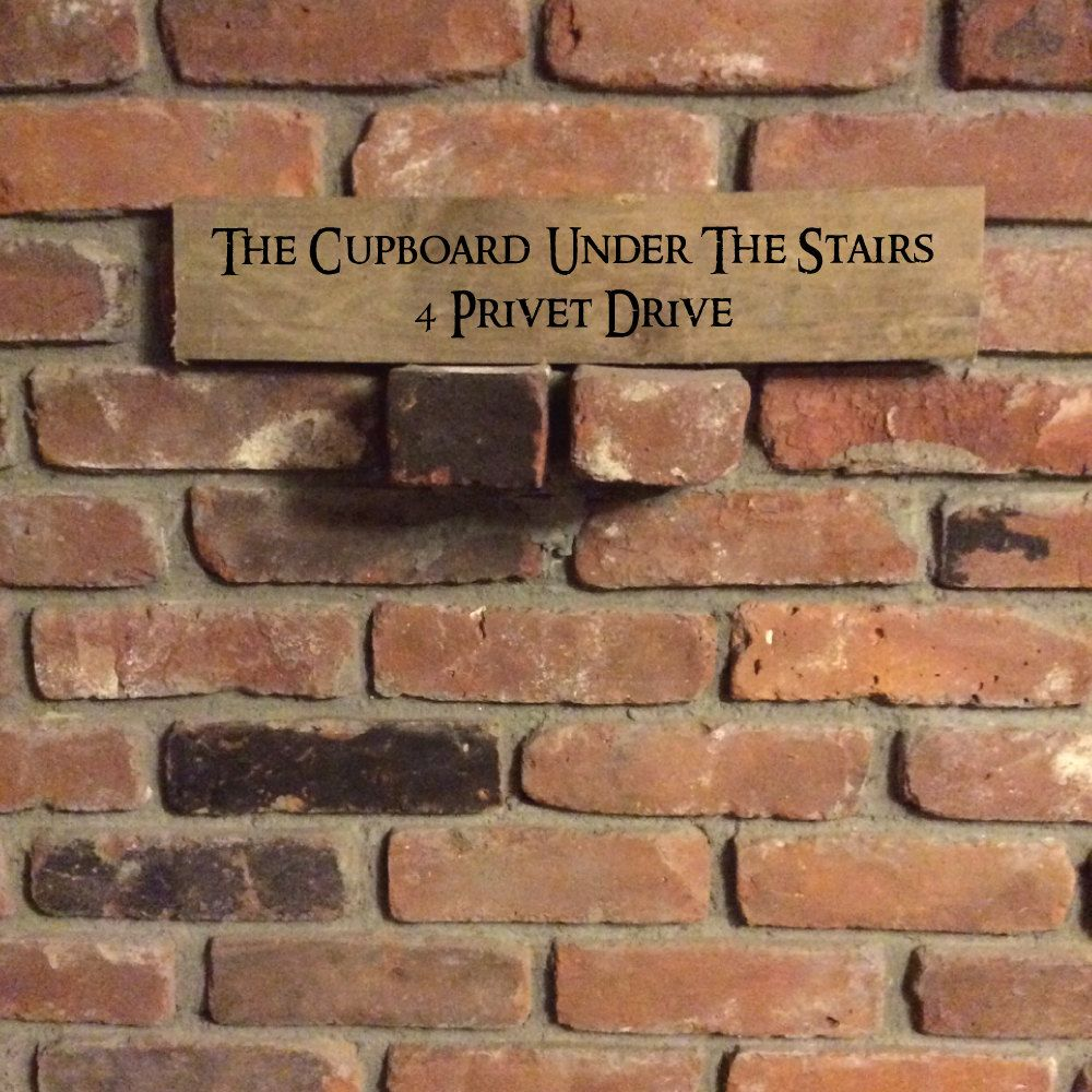 Handpainted The Cupboard Under The Stairs 4 Privet Drive Sign Harry Potter Sign Wooden Harry Potter Addr Under Stairs Cupboard Under Stairs Basement Stairs