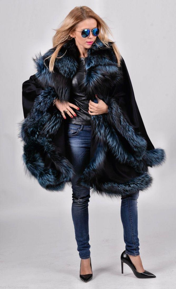 70a7d5746 fox furs - navy blue silver fox fur cashmere poncho | Spring Fashion ...