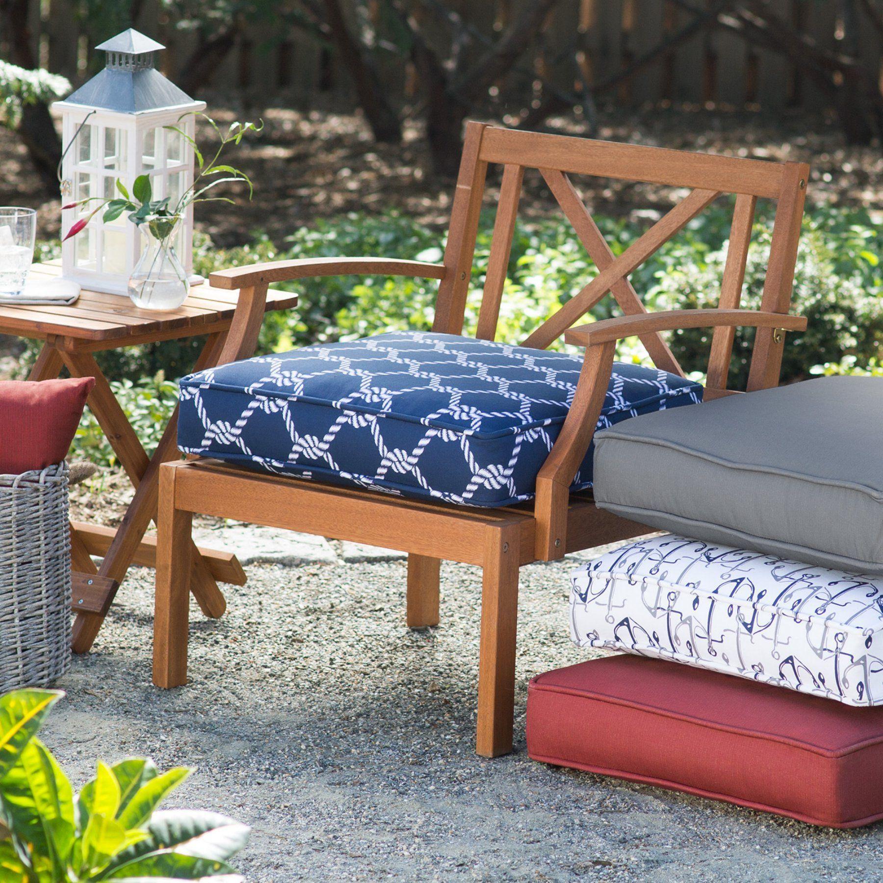 Coral Coast Nautical Boxed Edge 22 5 In Outdoor Seat Cushion