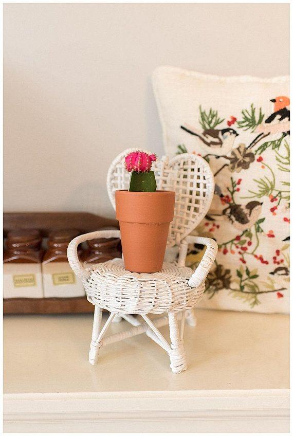 Small White Wicker Heart Chair Planter