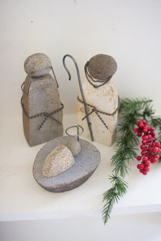 set of 3 river rock mary, joseph and jesus | nativity | Pinterest ...