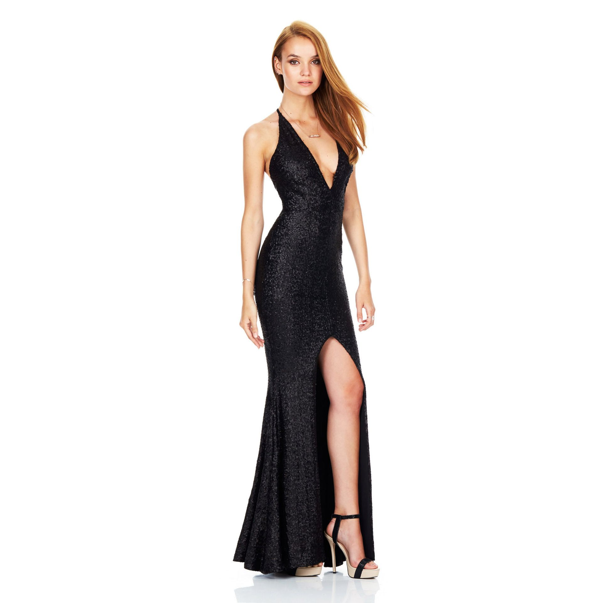 Black Deep V-Neck Halter Women Bodycon Sequins Evening Dress ... b76ab9760bc7