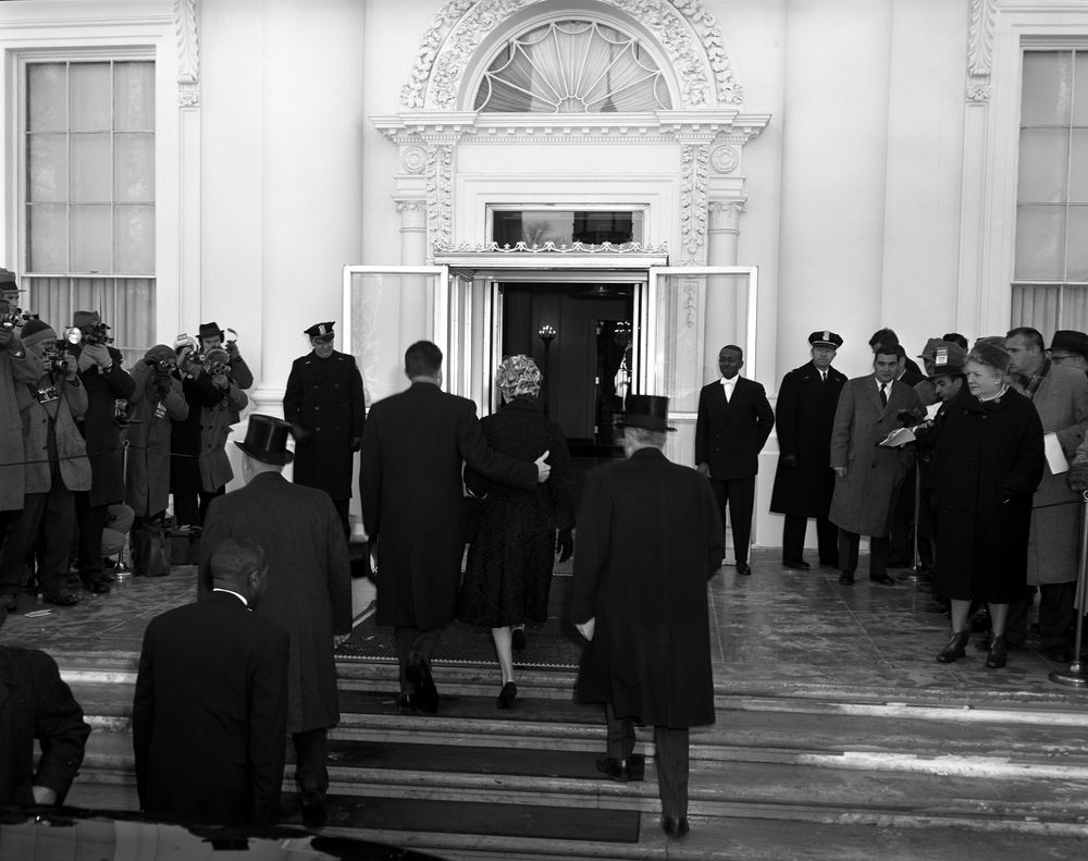 Pre Inaugural ceremonies at the White House   John F  Kennedy Presidential  Library. Pre Inaugural ceremonies at the White House   John F  Kennedy