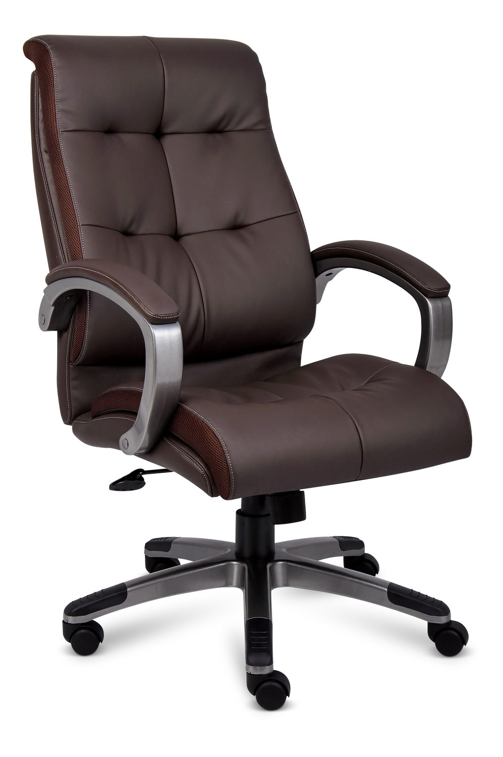 Brown Contemporary Leather Chair With Mesh Sides Executive