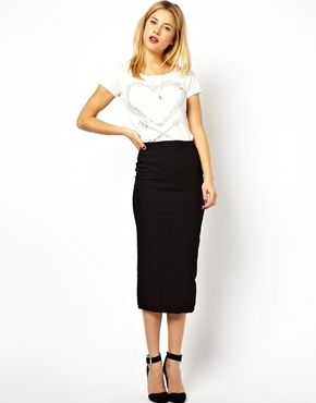 Denim Seamed Midi Pencil Skirt in Clean Black | Midi pencil skirts ...
