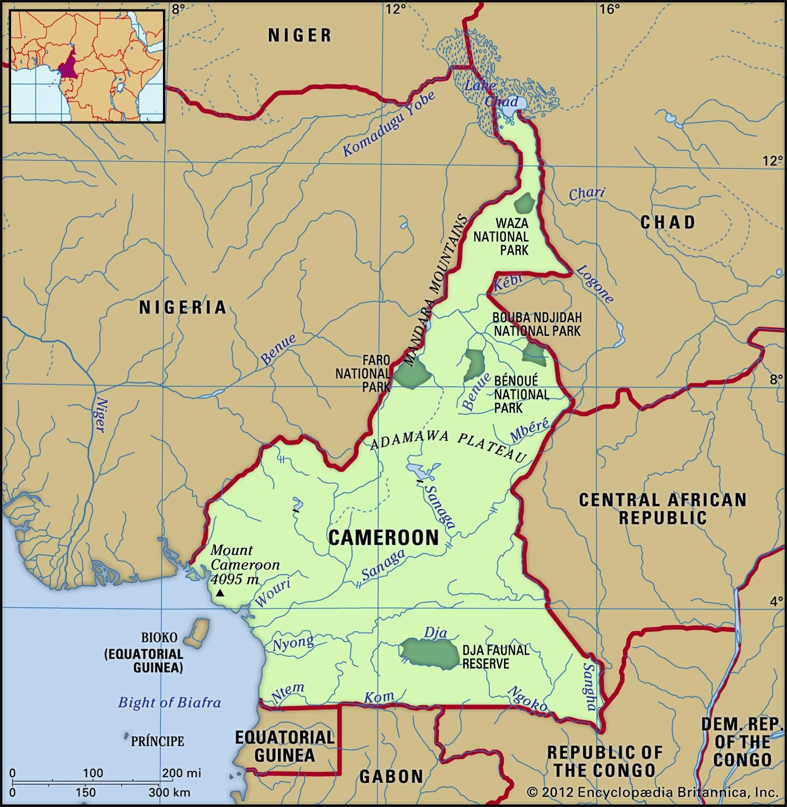 Cameroon Physical features map Includes locator Map Pinterest