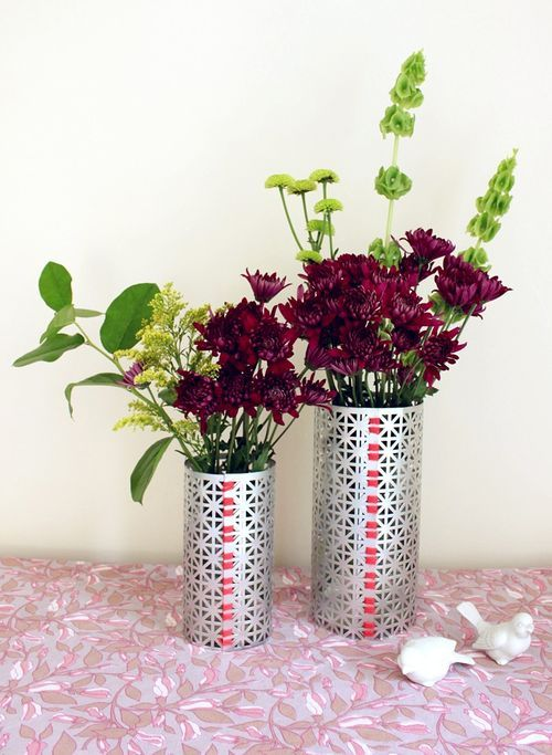 Diy Cutout Metal Vases Diy Vase Flower Vase Diy Flower Vases