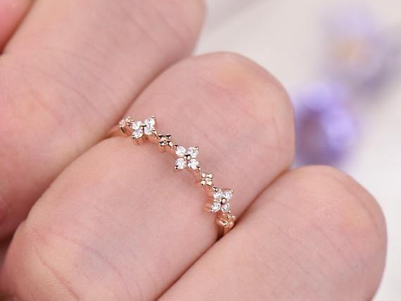 Art Deco Diamond Wedding Band,14K roseGold engagement ring,half eternity matching band unique promis #planningyourday