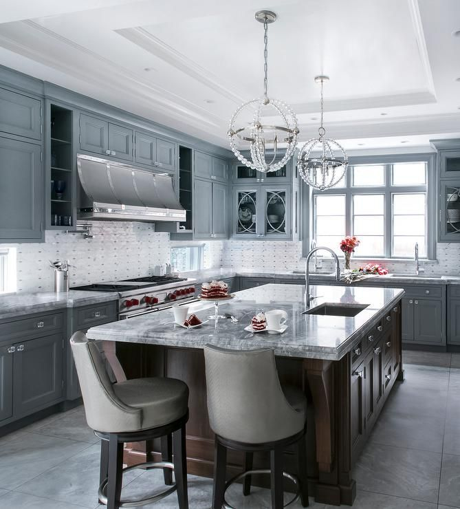 Best Elegant Gray And White Kitchen Is Equipped With Glass 400 x 300