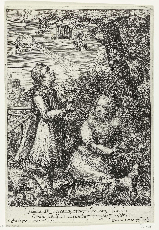 Magdalena van de Passe | Spring, Magdalena van de Passe, Crispijn van de Passe (I), 1617 - 1634 | Een jongen en een meisje in een tuin. Het meisje plukt een bloem. De jongen kijkt omhoog naar een vogelkooi die aan de tak van een boom hangt. In de marge een tweeregelig onderschrift in het Latijn.