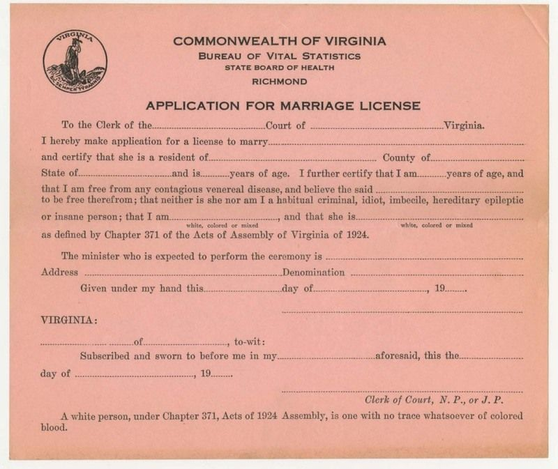 Application for marriage license library of virginia